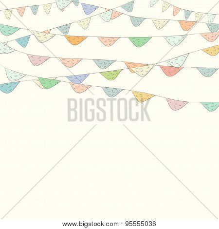 Colorful Bunting And Garland Set Isolated. Vector Hand Drawn Hanging Flags