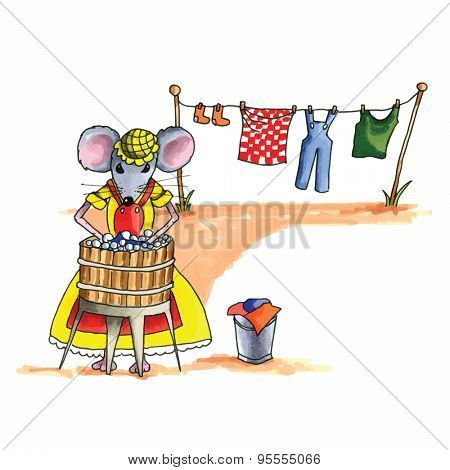 From the series mouse - mouse is washing the laundry