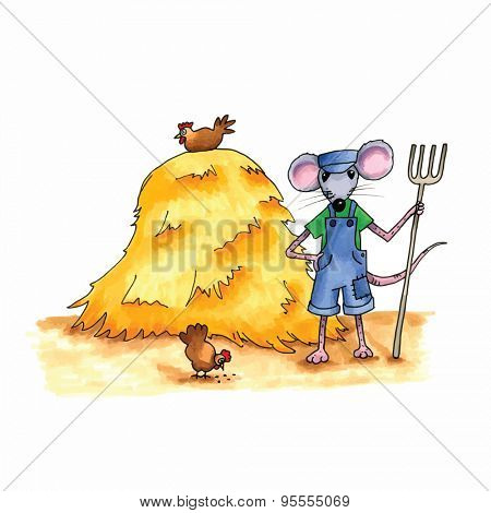 From the series mouse - mouse as farmer with hay stack