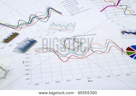 Stack Of Paper Documents With Financial Reports And Statistic Information Data On White Background