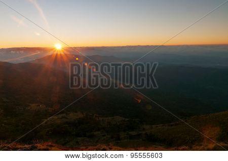 View Of Sunrise From Devikulam Hill. Munnar