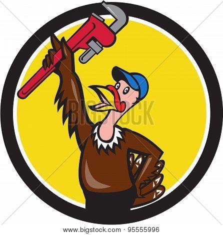 Turkey Plumber Raising Wrench Circle Cartoon