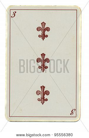 Vintage Playing Card Of Cross Number 3 Isolated