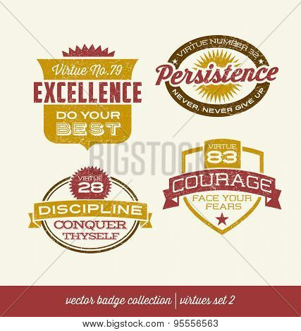 badge label collection with virtues- positive character traits on retro style crests