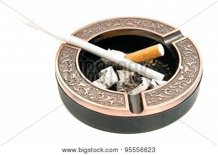Ladies Cigarette In Ashtray With Butts