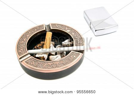 Metal Ashtray With Cigarette And Butts