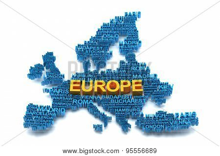 Europe map formed by names of major cities