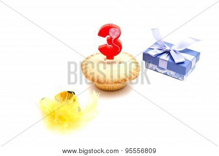 Cupcake With Three Years Birthday Candle, Gift And Whistle