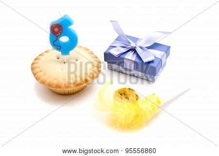Cupcake With Six Years Birthday Candle, Gift And Whistle