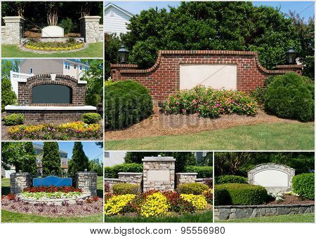 Suburban subdivisions entrances collage