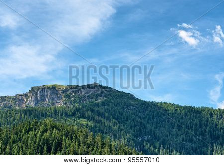 Expanse of fir trees with rocky mountain outcrop in backdrop, beneath blue sky and white clouds