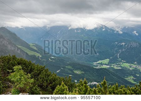 Picturesque Overview of Lush Mountain Valley Under Overcast Sky, Berchtesgaden National Park, Bavarian Alps, Germany