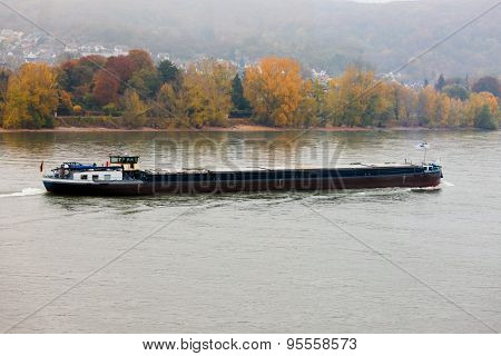 Loaded Barge Navigating River Rhine Germany