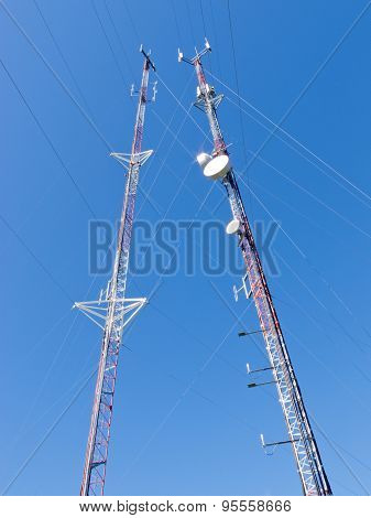 Two Lattice Telecommunication Antenna Towers
