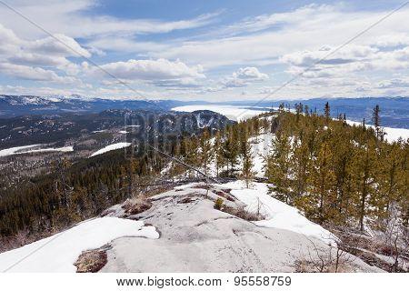 Lake Laberge Taiga Hill Frozen Spring Yukon Canada