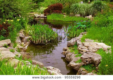 Decorative rocks near a small pond in a garden