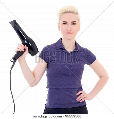 Beautiful Woman Hair Stylist Posing With Hairdryer Isolated On White