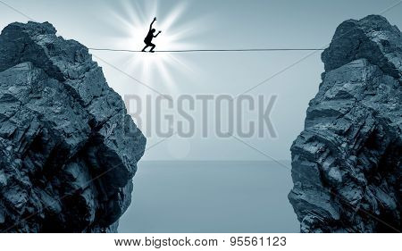 Man Balancing On The Rope High In The Sky