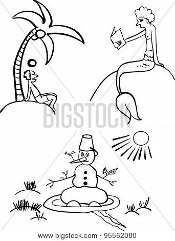 spend the summer vector illustration for coloring book