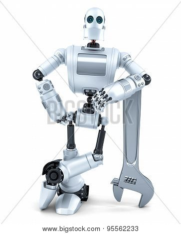 Robot With Wrench. Technology Concept. Isolated. Contains Clipping Path