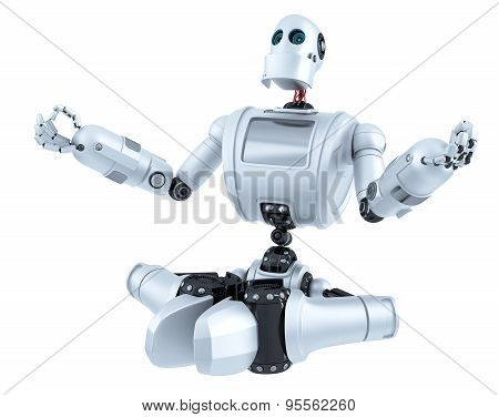 Meditating Robot. Technology Concept. Isolated. Contains Clipping Path