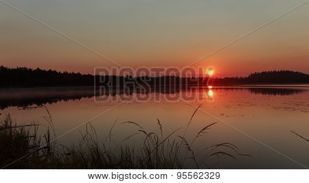 Raising sun under early morning coniferous wood lake