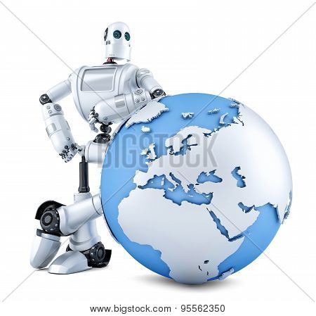 Robot With Earth Globe. Isolated. Contains Clipping Path