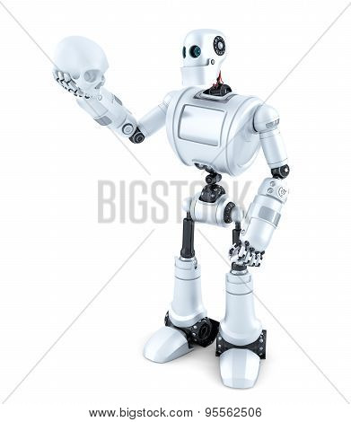 Robotic Holding A Human Skull. Isolated. Contains Clipping Path