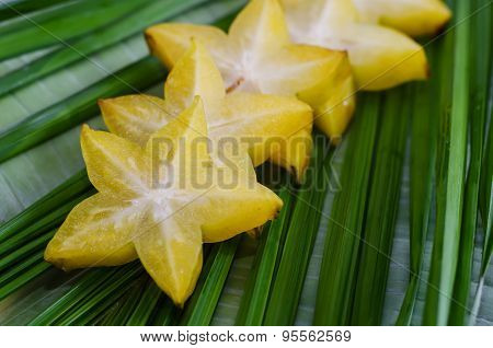 Starfruit, Carambola On Green Leaf