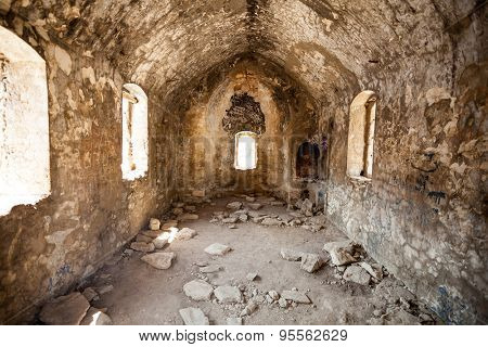 the ruined church in Turkey
