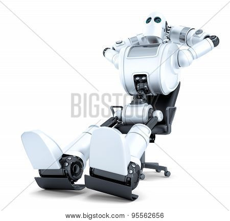 Robot Relaxing In Office Chair. Isolated. Contains Clipping Path