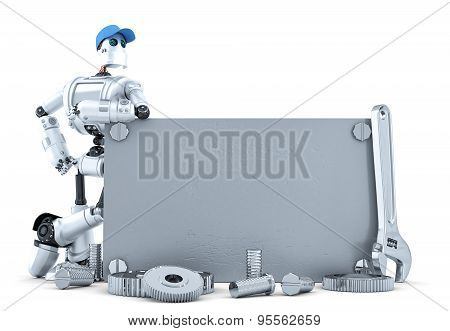 Robot With Blank Metallic Banner. Isolated. Contains Clipping Path
