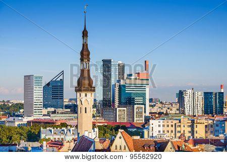 Tallinn, Estonia skyline with modern and historic buildings.