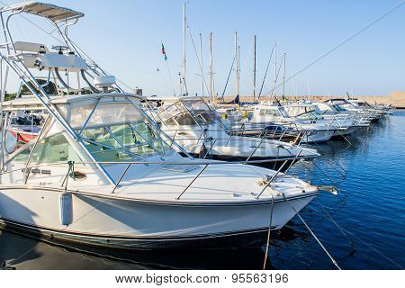 Yachts Moored In A Harbor