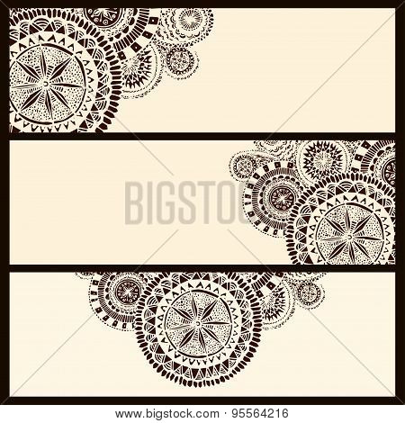Set of three horizontal banners with brown circle doodle elements. Vector layout