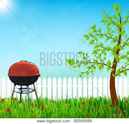 Kettle Barbecue Grill On Backyard Vector