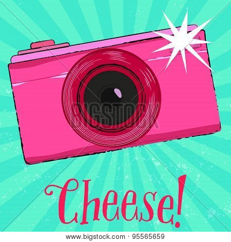 Photography poster with vintage camera and text cheese, hand drawn retro style. Vector illustration