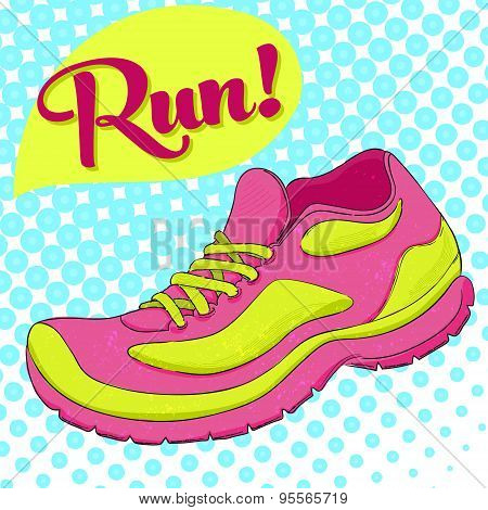 Sport poster with vector running shoe and text run. Halftone effect