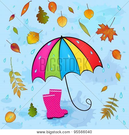 Autumn Background With Leaves And Umbrella Vector