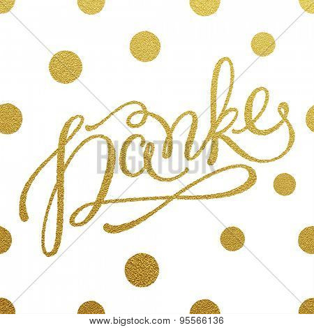 Danke - gold glittering lettering design with polka dots pattern