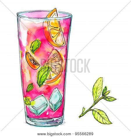 Glass of pink cocktail with mint, orange and ice. Watercolor vector illustration of alcohol drink