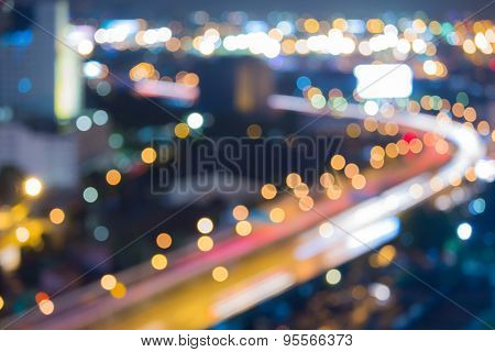 Abstract blur bokeh city road curve during twilight
