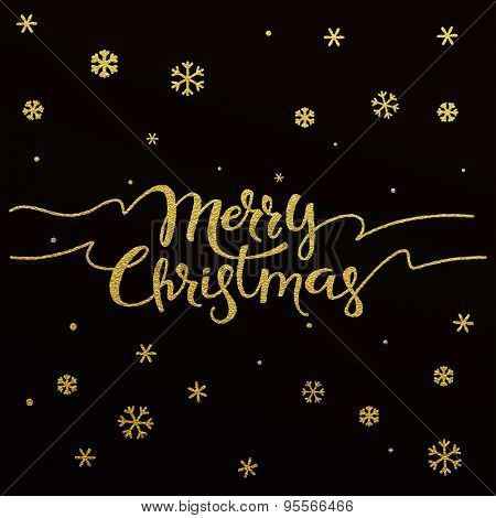 Merry Christmas - gold glittering lettering design with snowflakes pattern