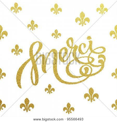 Merci - gold glittering lettering design with traditional french pattern