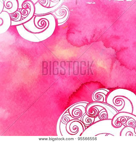Pink watercolor paint background with doodles