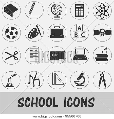 Back to School - Black and White set of Education icons