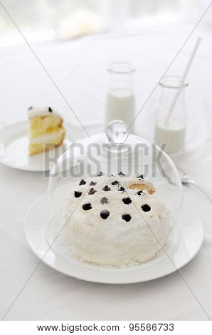 Light white delicate sponge cake with cream cheese frosting and milk