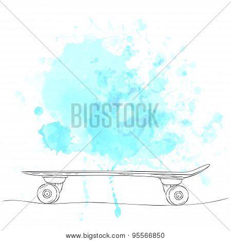 Hand drawn sketch skateboard on blue watercolor splash.