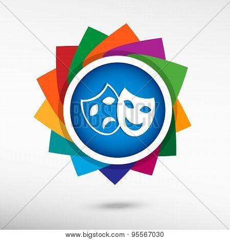 Theatre Masks Symbols. Flat Design Style