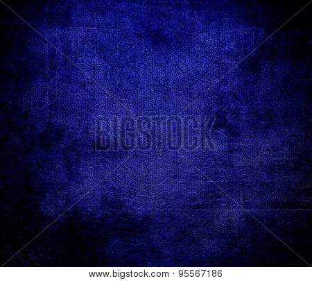 Grunge background of dark blue leather texture